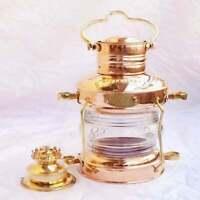 "Leeds Burton Nautical Maritime Brass & Copper Anchor Oil Lamp 14"""