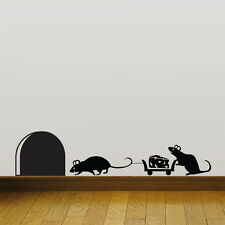 Mouse hole Christmas Party MIce Vinyl Wall Sticker Decor Decal Mural KItchen Pet