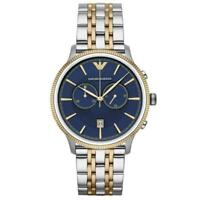 NEW EMPORIO ARMANI AR1847 MENS BLUE & SILVER STAINLESS STEEL CHRONOGRAPH WATCH