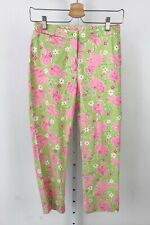 LILLY PULITZER Toast of the Town Elephant Print Crop Capri Pants Green Pink Sz 2