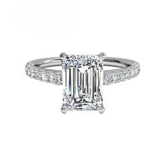 1.30 Ct Emerald Cut Diamond Engagement Ring 14K Solid White Gold Size 4 5 6 7 8