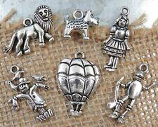 6 WIZARD OF OZ Theme Tibetan Silver Charm Set Collection Lot Dorothy Lion Toto