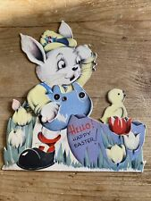 Vintage Easter Greeting Card Mechanical Rabbit Chick 1940's