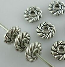60pcs Loose Daisy Antique Silver Charms Spacer Beads 6mm Jewelry Beading