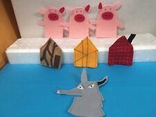 Set 7pcs Three Little Pigs Animals Fingers Puppet Toddler Kids Pretend Play