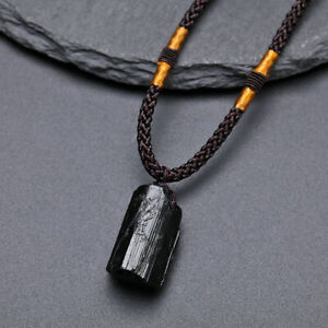 Black Tourmaline Pendant Natural Crystal Necklace Reiki Energy Raw Chakra Stone