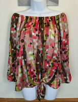 New Directions Off Shoulder Blouse Tied Polka Dot Pink Green 3/4 Sleeve Size L