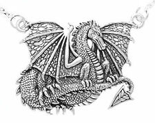 Sterling Silver Detailed Heavy Dragon Pendant Necklace