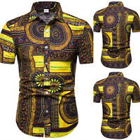 Men Summer Round Floral Patchwork Short Sleeve T-shirt Tops Beach Casual Blouse