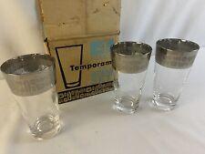 3 Mid Century Atomic Silver Rim 12 Oz Tumbler Glasses Canonsburg Temporama Mcm
