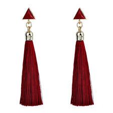 Leather Tassel Bohemia Earrings Triangle Women Acrylic Geometric Ear Studs Red