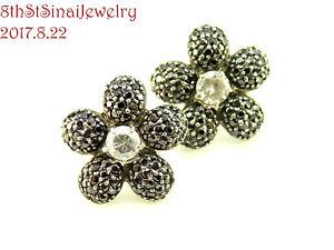 Flower Black CZ Petals Clear CZ Center Sterling Silver 925 Post Pierced Earrings