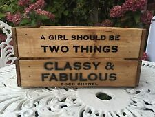 Wooden Coco Chanel Fashion Quote  Vintage Wine Crate Box Storage Shabby Chic