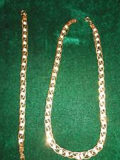 Avon Braided Gold-tone Chain and Faux Pearl Necklace and Bracelet set
