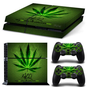 For PLAYSTATION 4 PS4 Wrap Decal Cover Green Textured Carbon Cannabis Rasta Skin