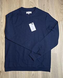 Mens Hamilton And Hare Luxury Loungewear Navy Birdseye Cotton Jumper Size XS