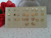 SILVER / GOLD EARRINGS - VARIOUS DESIGNS - PIERCED - BUTTERFLY HEART STUD PEARL