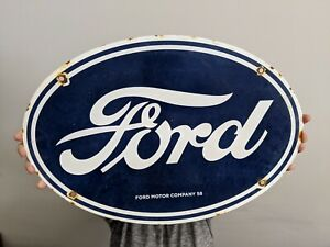 LARGE OLD VINTAGE DATED 1958 FORD MOTOR COMPANY PORCELAIN ENAMEL DEALERSHIP SIGN