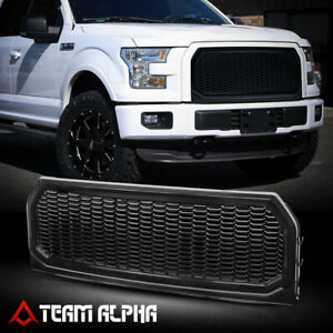 Fits 2015-2017 Ford F150{HEX HONEYCOMB MESH}Glossy Black ABS Bumper Grille Grill