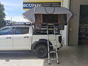 Roof Top Tent Hard Fiberglass Shell Camping Camper Trailer Ladder Black