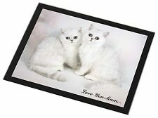 Exotic White Kittens 'Love You Mum' Black Rim Glass Placemat Animal , AC-52lymGP