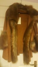jayley--Brown Suede & Faux Fur Jacket One Size