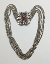 Antique Austro Hungarian 835 Silver Garnet Multi Strand Clip Off Choker Necklace