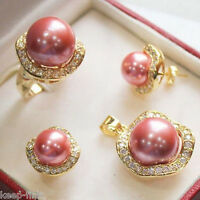 Women's Natural Pink South sea Shell Pearl Earrings Ring Necklace Pendant Set