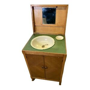 Vintage Wash Stand Cabinet Original Enameled Wash Basin And Soap Dish Towel Rail