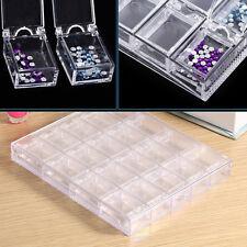 20 Grids Empty Nail Art Display Tray Glitter Rhinestone Decor Storage Box Case