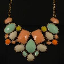 Gold Colourful Gem Geometric Fashion Costume Jewellery Necklace