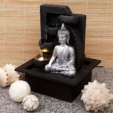 Silver Buddha Water Fountain With LED Light -Housewarming Gift Tranquil Relaxing