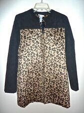 NWT Esley Faux Fur Leopard Print Mixed Fabric Jacket/Coat Large L