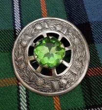 Scottish Fly Plaid Brooch Antique Finish Irish Green Stone Ladies Pin Brooches