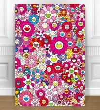 "TAKASHI MURAKAMI- SUN FLOWERS PINK CANVAS PRINT JAPANESE POP ART - 24x18"""