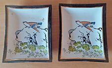 Vintage Pair Small Glass Plates Japan Gold Fill Bird Garden Plants Ring Holder