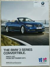BMW 3 SERIES CONVERTIBLE PRICE LIST FROM SEPT 2011 LONDON OLYMPICS