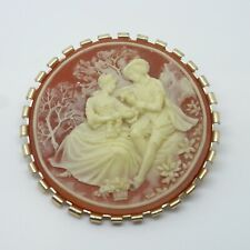 Large Cameo Round Brooch - Vintage Pin / Badge