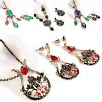 Fashion Women Shining Crystal Pendant 1 Pc Necklace +2 Pcs Earrings Jewelry Set