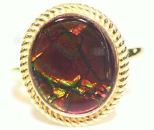 Vintage 14K Solid Gold Natural Ammolite Cocktail Engagement Ring Jewelry 3.57CT