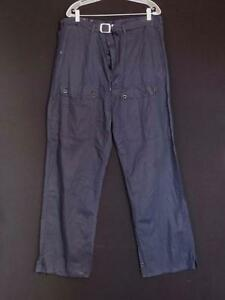 RARE VINTAGE FRENCH 1960'S BLUE COTTON WORK PANTS BUTTON FLY SIZE 41  INCH WAIST
