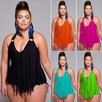 US Women Plus Size One Piece Tassels Bikini Monokini Swimwear Beach Bathing Suit