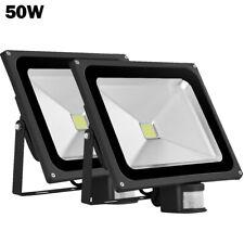 2x 50W LED Flood Light Warm White with Motion Sensor Outdoor Lighting Spotlight