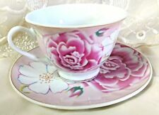 Case of 24 Pink Morning Discount Tea Cups Teacups Near Wholesale Price FREE SHIP