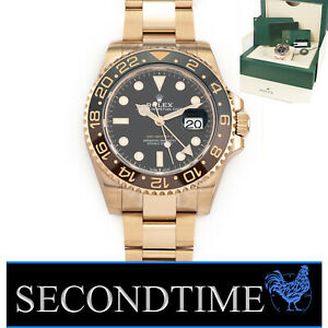 NEW April 21 Rolex GMT-Master II Root Beer 18K Rose Gold 40mm Watch 126715 CHNR
