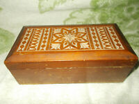 Jewelry Trinket Box Vintage USSR Russian Carved Wooden Wood Straw 1970