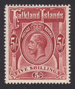 Falkland Islands. SG 67, 5/- deep rose-red. Fine mounted mint.