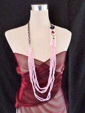 Statement Necklace Long 40cm Chain & multi Bead - Pink Raffia & Silk Flower 117
