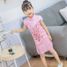 Chinois Enfants Filles Chine Rose Cerise Floraison Qipao Qipao Robe gcd13