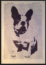 Bulldog Francese Stampa Vintage Dizionario Pagina Da Parete, Arte Foto Animale